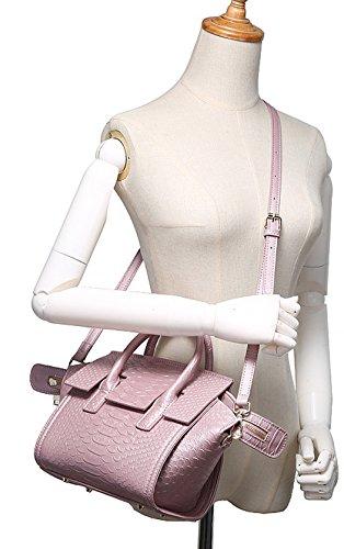 Longzibog Dual verstellbare Schultergurte und Hängeschlaufenband Mode Simple Style Fashion Tote Top Handle Schulter Umhängetasche Satchel Schwarz