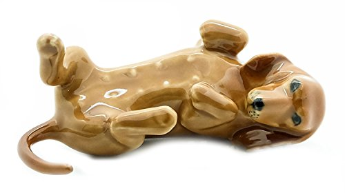 Grandroomchic Animal Miniature Handmade Porcelain Statue Dachshund Lying on Back Dog Figurine Collectibles Gift