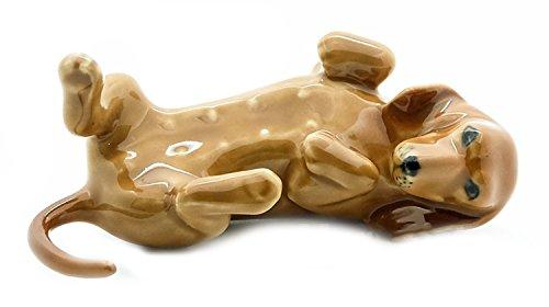 Handmade Porcelain Figurine - Grandroomchic Animal Miniature Handmade Porcelain Statue Dachshund Lying on Back Dog Figurine Collectibles Gift