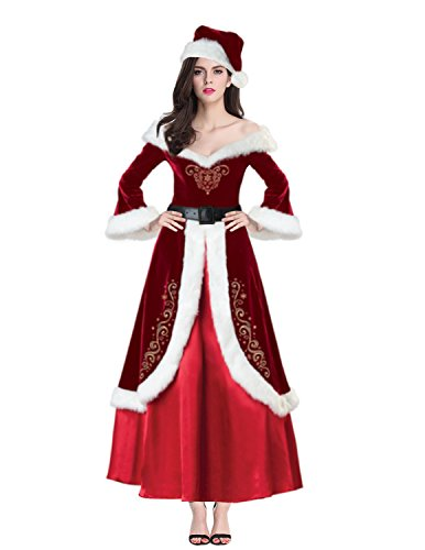 Cheap Mrs Claus Costumes (Quesera Women's Christmas Costume Mrs Santa Claus Outfit Deluxe Velvet Dress, Red, free size fit US 2-8)