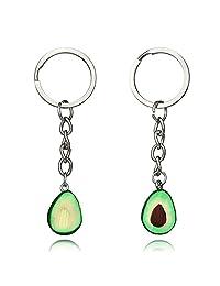 AOASK Handmade Green Avocado BFF Friendship Necklace Key Ring Cute Fruit Heart Shape Pendant