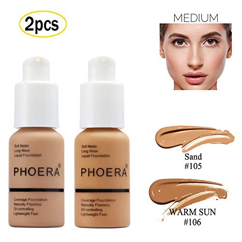 2pcs/set Perfect Concealer Foundation Full Coverage Flawless 30ml Soft Matte Long Wear Foundation Liquid Makeup Coverage Natural Concealer Oil-controlling Lightfeel Cream # 105 Sand +106 Warm Sun