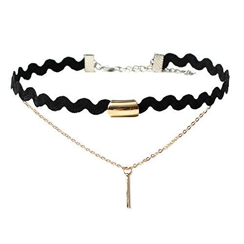 - FEDULK Womens Choker Necklace Stretch Classic Gothic Tattoo Lace Elegant Beautiful Charm Chain