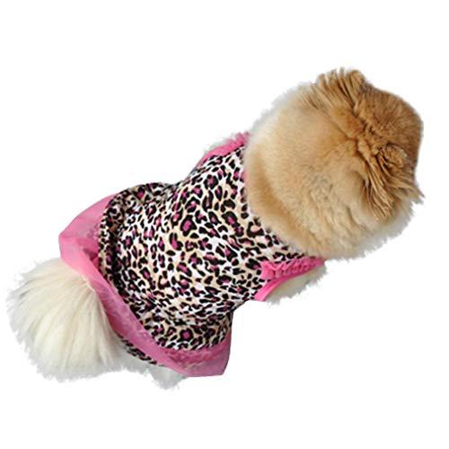 YOTATO Cute Cotton Round Neck Sleeveless Leopard Dog Dress Summer Pet Puppy Party Dress Cat Pet Apparel