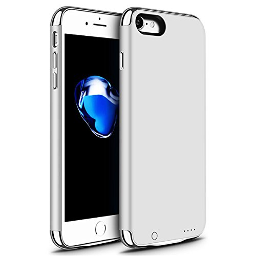 iPhone 6 6s 7 Battery Case, GIZEE Ultra Slim 3 In 1 Metal Textured 3500 mAh Portable Protective Charging Case for Apple iPhone 6 / iPhone 6S/ iPhone 7 4.7 Inch - Silver
