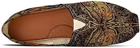 TIZORAX - Mocassini da donna stilizzati libellula contro il mandala, comodi, casual, in tela