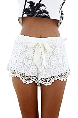 Aiyou Sexy Elastic Openwork Celeb Lace Crochet Bow Shorts Mira Hot Pants