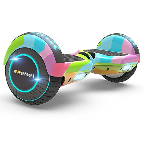 Hoverboard Two-Wheel Self Balancing Electric Scooter 6.5' UL 2272 Certified, Print Coating with Bluetooth Speaker and LED Light (Rainbow Wave)