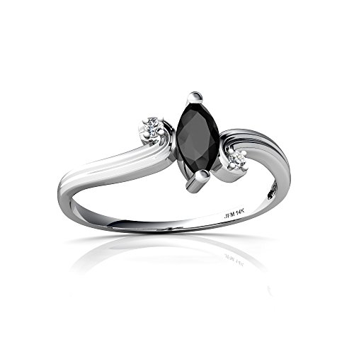 14kt White Gold Black Onyx and Diamond 6x3mm Marquise Ocean Waves Ring - Size 4