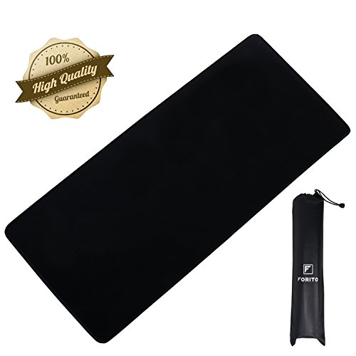 Extended Mouse Pads, Large Mousepad Functional Non-slip Rubber Base with Stitched Edges, Large Gaming Mouse Pad With Portable Carrying Bag, Size 23.6 Inches x 11.8 Inches x 0.12 Inches ( L-Black)