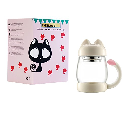 MeGlass Cute Cat Tea Mugs, 14oz Protable Glass Tea Cup with a Lid & Infuser for Home & Office Use (White) by MeGlass (Image #6)