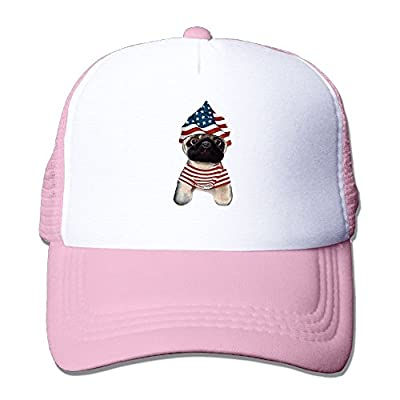 Patriotic Pug Adjustable Mesh Trucker Hat Stylish Snapback Baseball Cap by Huishe1