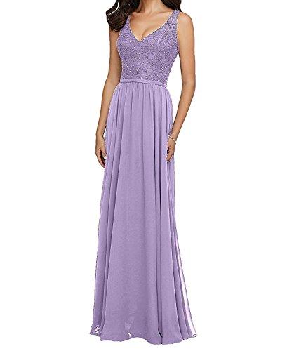 A Braut Spitze Elegant mia Linie Brautjungfernkleider Lang Dunkel Partykleider Gruen Lilac Abschlussballkleider Abendkleider La TqvF6w