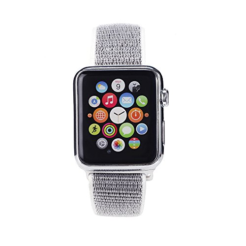 Woven Nylon Replacement Apple Watch Band by Pantheon, Sport Loop Edition, For Men or Women, Strap fits the 38mm or 42mm Apple iWatch, Compatible Series 1, 2, 3, Nike (White, 38mm) by Pantheon (Image #1)
