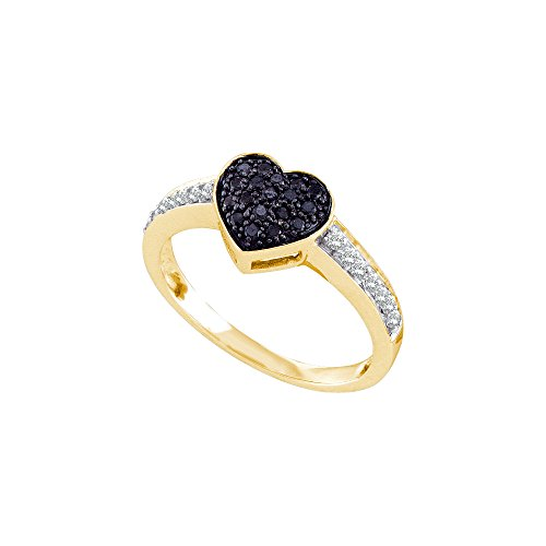 Jewels By Lux 10k Yellow Gold Womens Black Color Enhanced Round Diamond Heart Cluster Ring 1/3 Cttw Ring Size 9.5