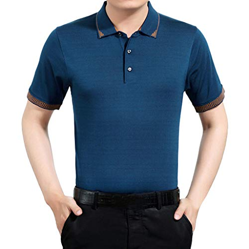 YOcheerful Men's Tops Personality Short Sleeve Shirts Casual Solid Pullovers Shirts Summer Loose Henley Shirts(Blue, L) ()