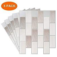 TZ Global Peel and Stick - Premium Self-Adhesive Peel Stick Wall Tile for Kitchen/Bathroom Backsplash in Brick Style (10