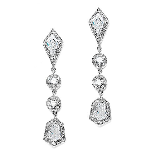 Mariell Empress & Noble Cut Cubic Zirconia Wedding Earrings - Art Deco Vintage Bridal ()