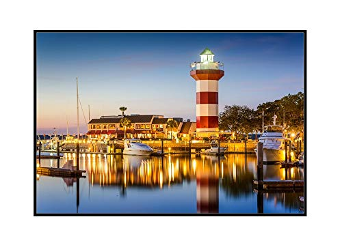 Hilton Head, South Carolina - Lighthouse at Twilight - Photography A-94774 (24x16 Framed Gallery Wrapped Stretched Canvas)