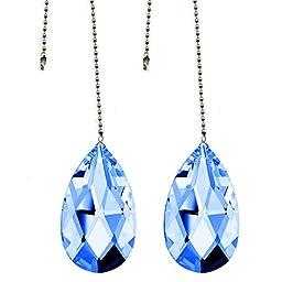 2 Pcs Fan Pulley Swarovski Strass Medium Sapphire Crystal Almond Prism Decorative Fan Pull Chain