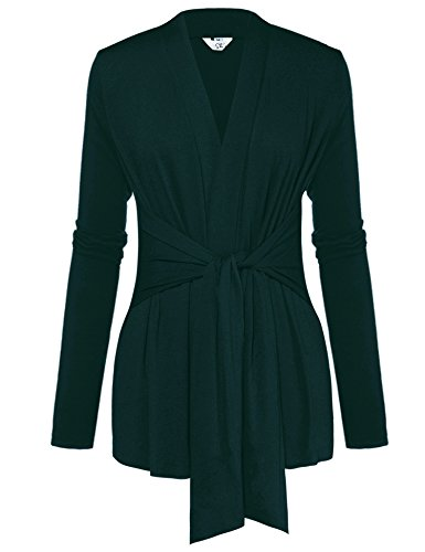 Belted Wrap Sweater - A Blues Man Womens Casual Long Sleeve Open Front Drape Wrap Travel Cardigan Sweater Green XL