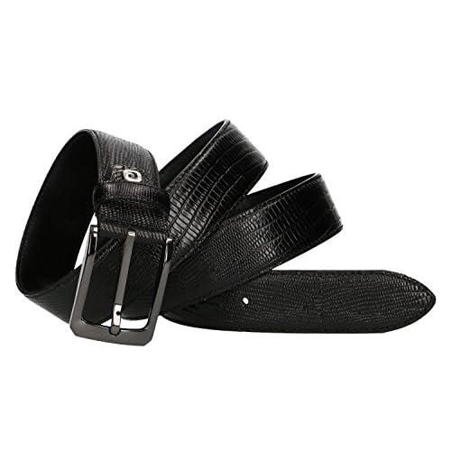 ab6c247f20 Lovely Cinturón hombre PIERRE CARDIN negro cuero con pespuntes 125 cm VR849