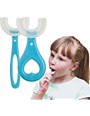 All Rounded Kids U Shape Toothbrush,Children U Shaped Toothbrush for Kids, 360°Oral Tooth Cleaning Toothbrush for Kids 2-12 Years Old (Blue)