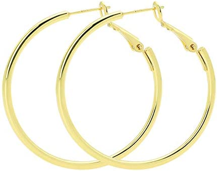 with .925 Sterling Silver Post  40mm Leverback Round Hoops SI-839-GD  2 Pcs Hoop Earrings Circle Ear Hooks Gold Plated over Brass