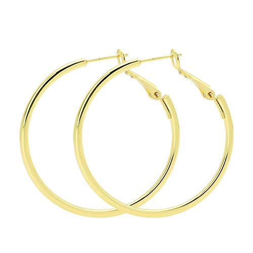 Plated Gold Earrings Brass - Rugewelry 925 Sterling Silver Hoop Earrings,18K Gold Plated Polished Round Hoop Earrings For Women,Girls' Gifts