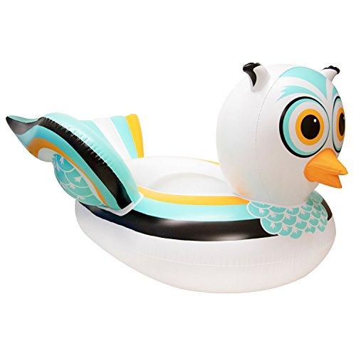 Swimline 90721M Swimming Pool Lake Giant Rideable Owl Inflatable Float, White