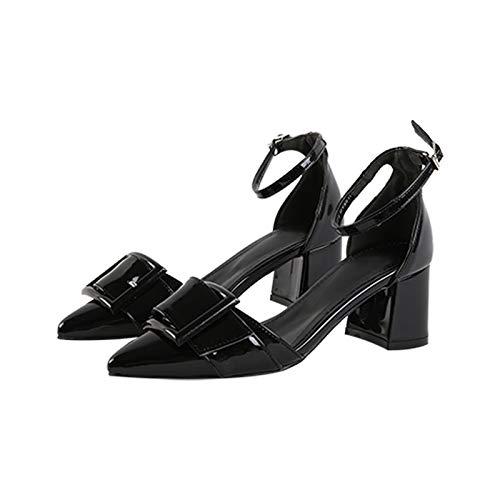 Hadas alto Zapatos de Punta Zapatos del con Hebilla Cinturón Charol Individuales Versátil De De Yukun Femenina Otoñales Black Grueso Word tacón zapatos 4YtxTx