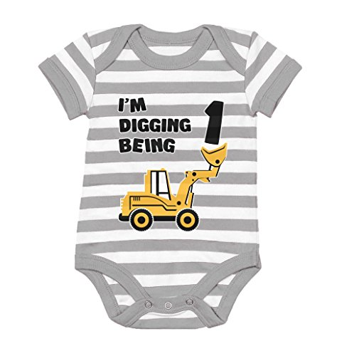 Tstars 1st Birthday Bulldozer Construction Infant Boy Baby Bodysuit 18M Gray/White (1st Year Birthday Party Ideas For A Boy)