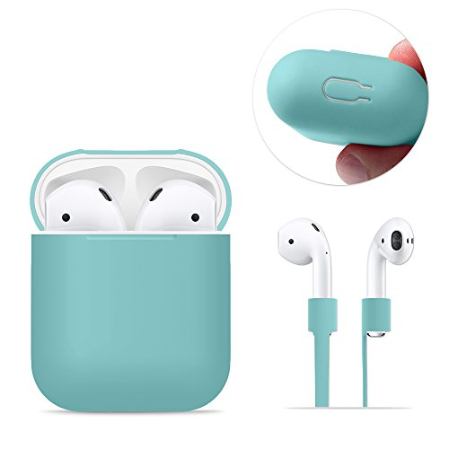 AirPods Case Protective, FRTMA AirPods Silicone Skin Case with Sport Strap for Apple AirPods (Ice Sea Blue)