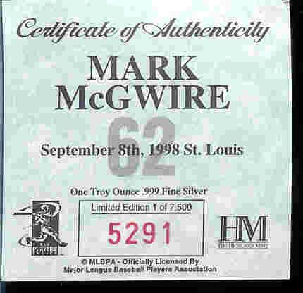 Louis St Coin (1998 Highland Mint MLB Baseball Collectible 39mm Coin Silver: Mark McGwire - St Louis Cardinals - 62 Home Runs)