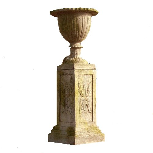 Orlandi Botanico Urn With Julian Pedestal - Fiber Stone Planter & Plinth Garden Statues by
