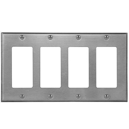 ENERLITES Decorator Light Switch/Receptacle Outlet Metal Wall Plate, Corrosive Resistant, Size 4-Gang 4.50