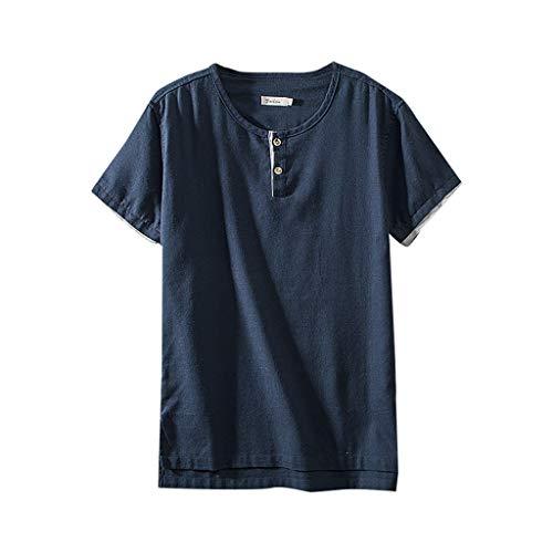 FONMA Fashion Men's Cotton Linen Solid Color Short Sleeve Retro T Shirts Tops Blouse -
