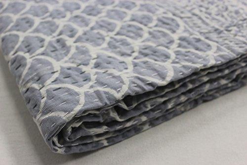 HANDICRAFToFPINKCITY Handmade Kantha Quilt Throw Reversible Block Print Bedspread Vintage Cotton Gudari Blanket Indian Decorative Kantha Bed Cover Grey Color