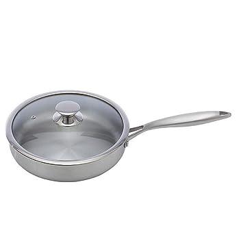 SKYyao Sarten acero inoxidable,sartén de acero inoxidable 304 sartén cocina sin recubrimiento libre de humo: Amazon.es: Hogar