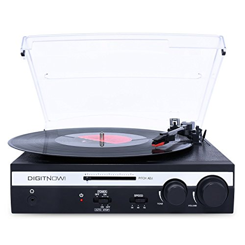 DIGITNOW! Turntable Vinyl LP Record Player/Converter with Pitch Control, Tone Control/PC Encoding/Recording, Aux in/Built-in stereo speakers, RCA Ouput, 3.5mm Headphone jack,digitizer LP with win/mac Turntable Usb Connection