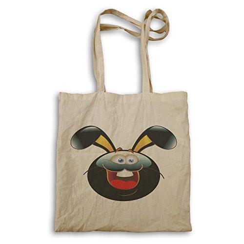 Smiley-Häschen-glückliche Gesichts-Neuheit-lustige Vintage Kunst Tragetasche a273r
