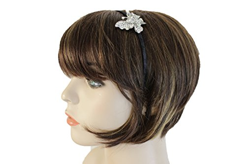 TFJ Women Headband Bridal Classic Fashion Hair Jewelry Silver Metal Butterfly Bling Charm Black Band
