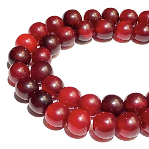 ([ABCgems] Rare Carabao Buffalo Blood Horn AKA Red Horn (Hand Carved from Beautiful Horn of Carabao) 13-14mm Off-Round Beads for Jewelry Making)