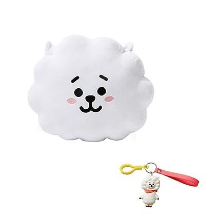 DIY Plush Throw Pillows BTS BT21 Cushion Doll(30x40cm with Cute Cartoon Key Chain (