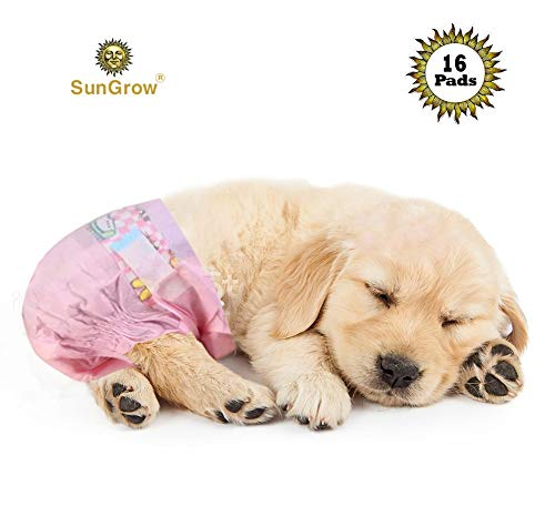 SunGrow Disposable Dog Diapers, Fit for 12 to 20-inches Waist, Suitable for Outdoor Activities and Long Trips, Extra-Absorbent, Pet Tail Hole Design, 16-Pads