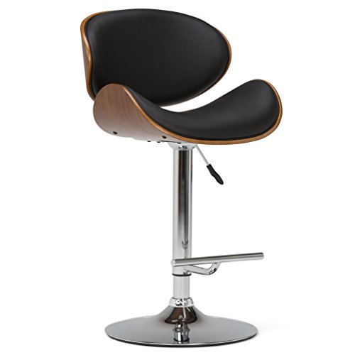 Simpli Home AXCMARN-BL Marana Mid Century Modern Bentwood Adjustable Height Gas Lift Bar Stool in Black Faux Leather