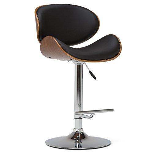 (Simpli Home AXCMARN-BL Marana Mid Century Modern Bentwood Adjustable Height Gas Lift Bar Stool in Black Faux Leather )