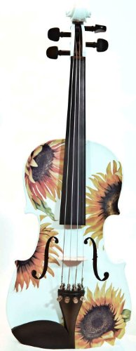 Octagonal Sunflower (Creative Concept Instruments SSW5044 Rozanna's Sunflower DeLight 4/4 Violin Outfit, White)
