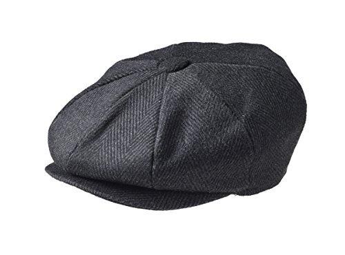 (Peaky Blinders Men's 8 Piece 'Newsboy' Style Flat Cap Wool (Medium (57cm), Black)