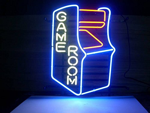 GAMEROOM RETRO Real Glass Neon Light Sign Home Beer Bar Pub Recreation Room Game Room Windows Garage Wall Sign (17''×14'' Large)